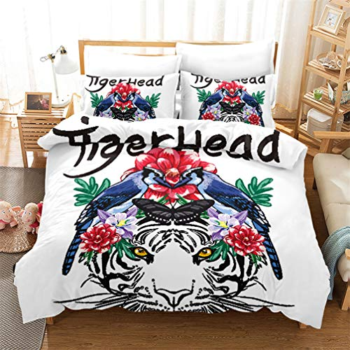 White Black Blue Pink 3D Animals Bedding set Zebra Dog Butterfly Tiger Duvet Cover and Pillowcase Microfiber Kids Boys Girls (Style 4, Single 135x200 cm)