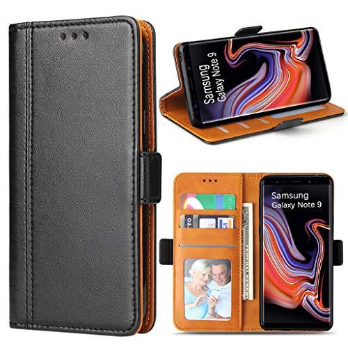 Bozon Galaxy Note 9 Hülle, Leder Tasche Handyhülle für Samsung Galaxy Note 9 Schutzhülle Flip Wallet mit Ständer & Kartenfächer/Magnetverschluss (Schwarz)
