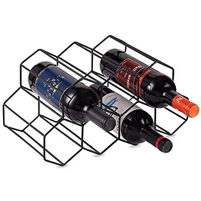 KirinRen Black Metal Wine Rack Free Standing, Tabletop Wine Bottle Holder, Countertop Wine Rack for Cabinets, Kitchen Countertop, Wine Cellar Bar