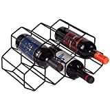 KirinRen Black Metal Wine Rack Freestanding, Tabletop Wine Rack Holder, Countertop Wine Bottle Holder - Geometric Design for Wine Cellar Bar Cabinet (Black)