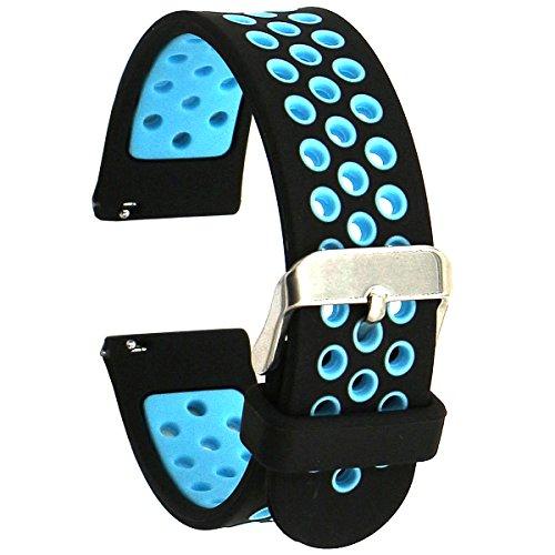 Elespoto 20mm Correa para Motorola Moto 360 2 generación 42 mm Samsung Gear S2 Classic Gear Sport Huawe Watch 2 Sport Withings Steel HR 40mm Reloj Pulsera de Reemplazo Correa (Black Blue)