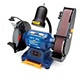 Eastwood 1/2 Hp 8In Combination Bench Grinder Belt Sander Sharpener Linisher Electric Sanding Grinding Machine With Aluminum Oxide Grinding Wheel & Sanding Belt