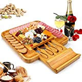 Bamboo Cheese Board Set With Cutlery In Slide-Out Drawer, Charcuterie Platter and Serving Meat Board, Cheese Tray, Unique Gifts for Christmas Wedding Birthday Anniversary