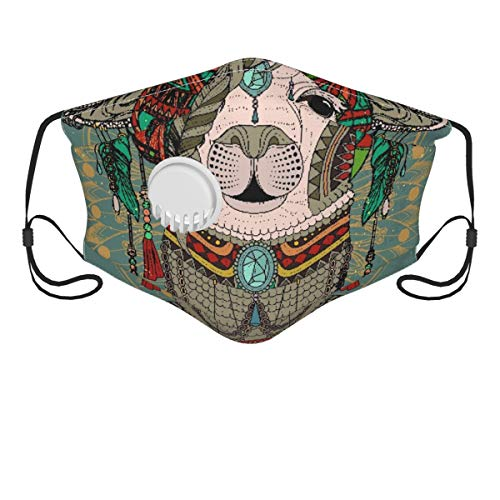 HARXISE Face Cover,Colorful Headwear Wearing Llama With Accessories Earrings Necklace Abstract Animal,Balaclava Unisex Reusable Windproof Anti Dust Mouth Bandanas Outdoor Camping Motorcycle Running