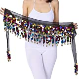 ZLTdream Belly Dance Color Film Gong Hip Scarf Chiffon Black