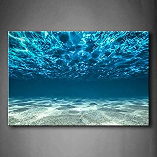Blue Ocean Bottom View Beneath Surface Wall Art Painting The Picture Print On Canvas Seascape Pictures for Home Decor Decoration Gift (Stretched by Wooden Frame,Ready to Hang)