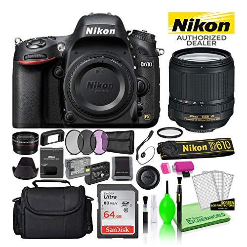 Nikon D610 24.3MP DSLR FX-Format Digital Camera with 18-140mm VR Lens (1540) USA Model Bundle Kit with 64GB SD Card +...