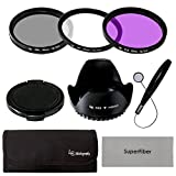 LS Photography 52mm Lens Filter Accessory Kit for Nikon Canon DSLR Camera Filter(UV, CPL, FLD),Pouch,Tulip Lens Hood,Snap-On Lens Cap,Cap Keeper Leash, Gray SuperFiber Lens Cleaning Cloth, LGG9