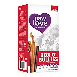 PawLove Box o' Bullies Dog Treats (6oz. Box) – Small 4 to 8 Inch Bully Sticks for Small to Medium Dogs – 100% All-Natural Bully Stick Beef Dog Chews – Promotes Dental Health – 8 to 12 Chews per Box