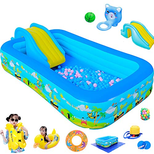 CATLXC Foldable Travel Kids Pool Inflatable Water Slide Large Portable Thick Wear-Resistant Paddling Pool Removable Backyard Toys