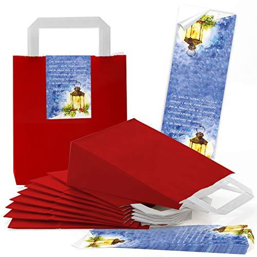 Logbokförlag 10 röda presentpåsar jul förpackning BUON NATALE 18 x 8 x 21 cm italiensk text för företag företag anställda