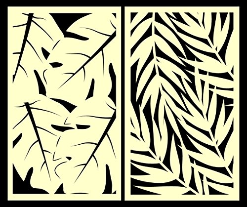 Lot de 2 pochoirs motif feuilles de la jungle – 300 mm x 177 mm – Murs, peintures murales, sols, œuvres d'art – Feuillage naturel (300 mm x 177 mm)