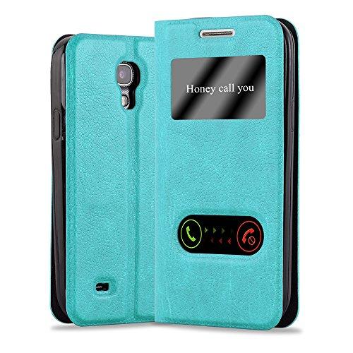 Cadorabo Funda Libro para Samsung Galaxy S4 Mini en Turquesa Menta - Cubierta Proteccíon con Cierre Magnético, Función de Suporte y 2 Ventanas- Etui Case Cover Carcasa