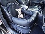 Knuffliger Leder-Look Autositz für Hund, Katze oder Haustier inkl. Flexgurt empfohlen für Nissan GT-R
