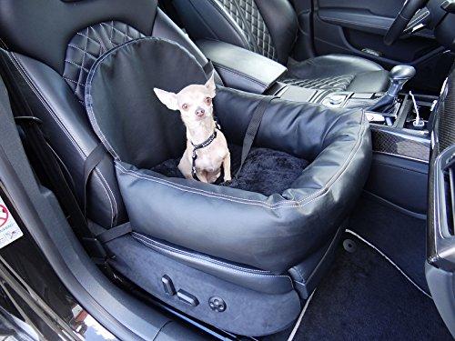 Hossi's Wholesale Hundeautositz mit Sicherheitsgurt, flauschiger Autositz für Hunde, Hundesitz Kunstleder schwarz 50x55x20cm