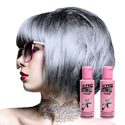 2x Crazy Color Semi-Permanente Haarfarbe 100ml (Silver - Silber)