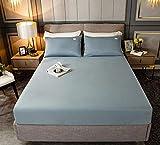 HPPSLT Protector de colchón, algodón, poliéster, Sábana de Cama Color Puro algodón-Azul Claro_120cm × 200cm