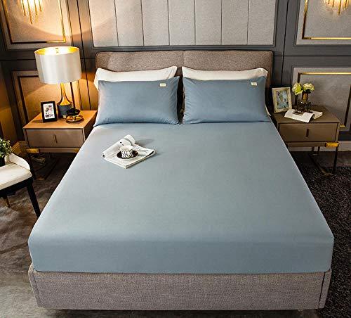 HPPSLT Protection de Matelas, Drap-Housse en éponge Respirable pour Drap de lit Couleur Pure Coton-Bleu Clair_90cm × 200cm