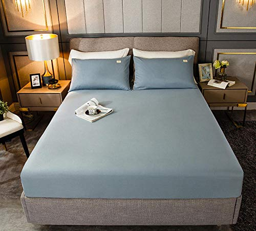 HPPSLT Protector de colchón, algodón, poliéster, Sábana de Cama Color Puro algodón-Azul Claro_200cm × 220cm