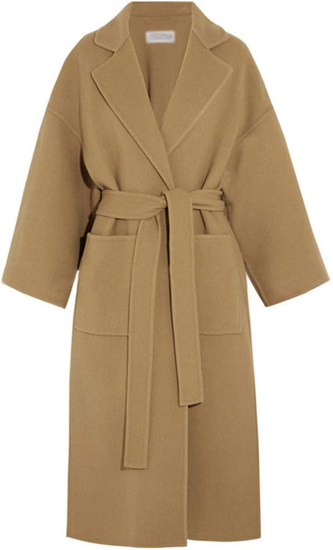 Coat Long Section Ladies Hairy Coat Suit Collar Lace Slim Fit Side Split Windbreaker Loose,M