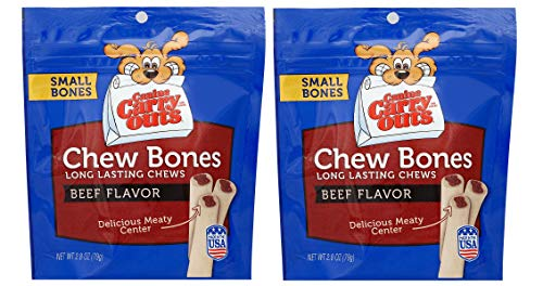 2 pack Canine Carry Outs Chew Bones Beef Flavor Dog Treats, Small – 2.8 oz