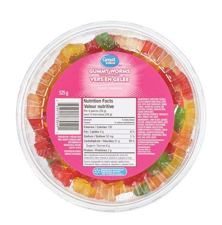 Great Value, Tub of Gummy Worms, 525g/1.2lbs, (Imported from Canada)