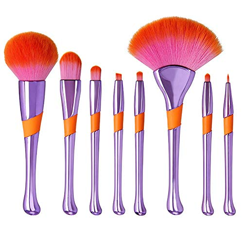 MoGist Ensemble de pinceaux de maquillage professionnel Baseball Girl pinceau de maquillage Kit d'outils de beauté 8 PCS of Essential Make-Up Brushes Kit Fiber Wool + ABS Pourpre 17.5cm