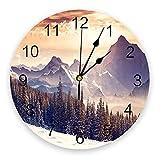 Yzybw Reloj de Pared Silencioso, Reloj de Pared para Niños Naturaleza Paisaje Swiss Christmas Woods Snow 25cm Diseño Moderno Apto para Decorar Hogar Oficina Escuela