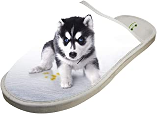 KOUY Cute Dogs Closed Toe Cotton Slippers Warm Soft Indoor Shoes Non-watertight
