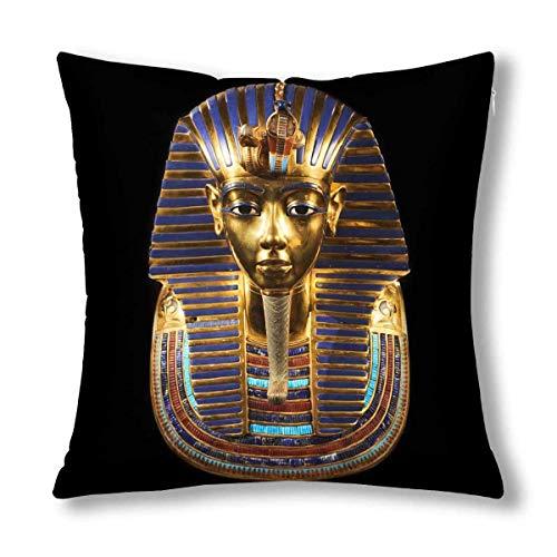 Kinhevao Antico Egitto Maschera funeraria di Tutankhamon Cuscino Decorativo Cuscino, Cuscino Quadrato Decorato con Cerniera