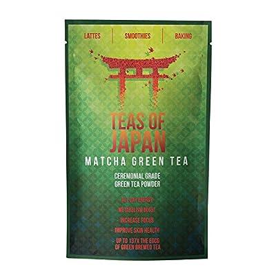 Matcha/Théière Poudre | | Poudre de thé vert japonais d'origine pour de Matcha Latte, de Smoothies Matcha, Matcha de boisson–Wehle Sports–Sachet refermable avec 100g de poudre | Premium Qualité Matcha