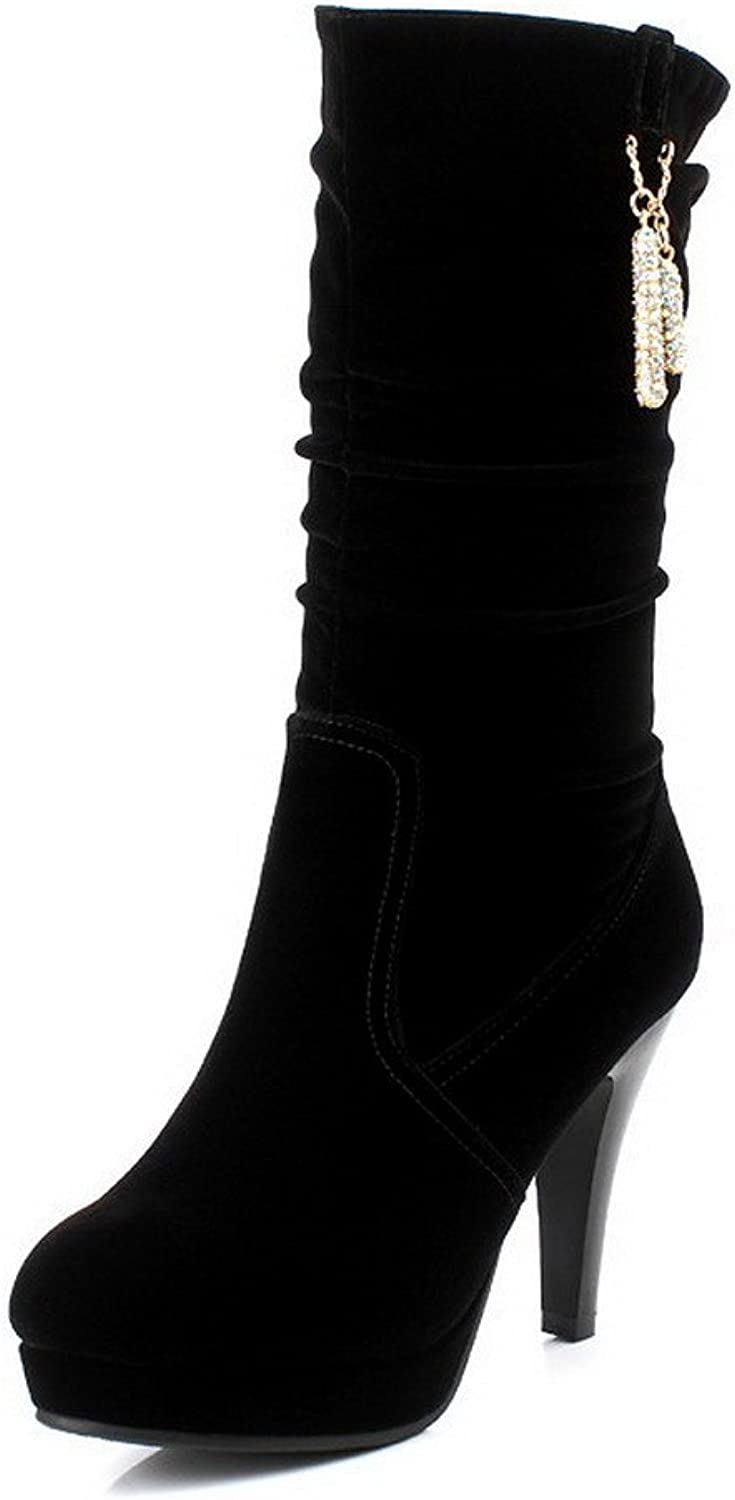 WeiPoot Women's Solid Round Toe Closed Toe Frosted Imitated Suede Mid-Top Boots