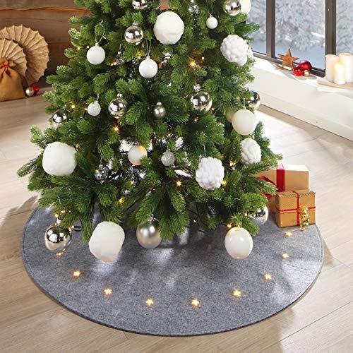 LILENO HOME Weihnachtsbaumdecke LED grau 20 Sterne mit 8 Leuchtfunktionen - Christbaumdecke als Bodenschutz Weihnachtsbaum aus Filz - Tannenbaumdecke rund (100cm) Baumdecke für Tannenbaum