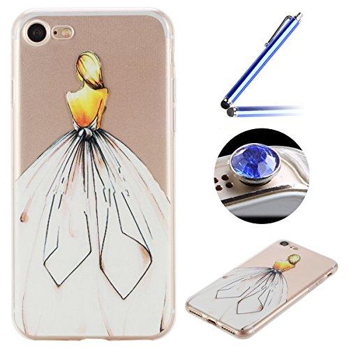 Etsue Doux Protecteur Coque pour iPhone 7,TPU Matériau Frame est Transparent Soft Cover pour iPhone 7,Coloré Motif par Dessin de Mode Case Coque pour iPhone 7 + 1 x Bleu stylet + 1 x Bling poussière plug (couleurs aléatoires)-Fille Dorsum
