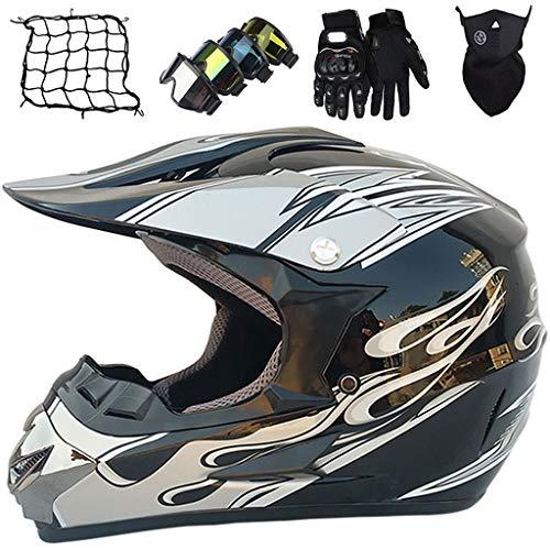 Casco de Moto, MJH-03 Conjunto de Casco de Motocross Niños & Adultos con Gafas/Máscara/Guantes/Red elástica (5 piezas) Casco Integral MTB MX Enduro Motocicleta - Certificación DOT/ECE, Negro Plateado