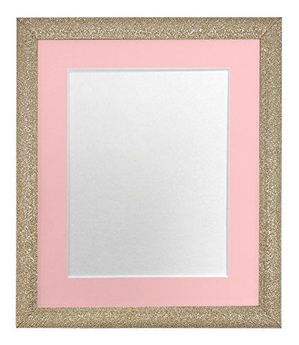 FRAMES DOOR POST Glitz Gouden fotolijst met Roze Bevestiging 50 x 70 cm Beeldgrootte 24 x 16 Inch Kunststof Glas