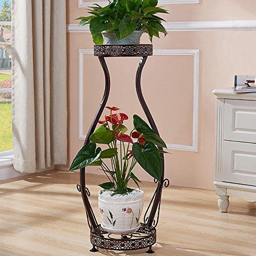 LLLXUHA Art de fer métal Deux étages Support de fleurs, Simple Type de plancher intérieur Cadre de bonsaï, balcon Succulentes Présentoir,22*25*78cm , copper