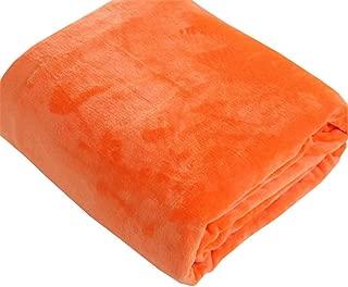 Keep Warm Blanket, Solid Coral Fleece Blanket, Casual Blanket, Sofa Blanket, Yoga Blanket, Air Conditioning Blanket. Thick (Color : Orange, Size : 150cm*200cm)
