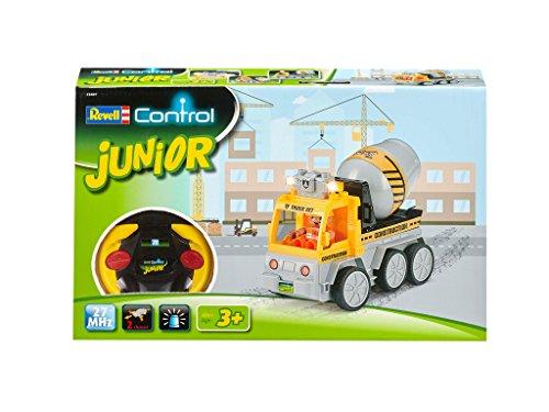 RC Auto kaufen Baufahrzeug Bild 4: Revell Control Junior RC Car Betonmischer - ferngesteuertes Baufahrzeug mit 27 MHz Fernsteuerung, kindgerechte Gestaltung, ab 3, mit Teilen und Figur zum Bauen und Spielen, LED-Blinklichtern - 23007*