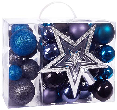 BRUBAKER 50ct Christmas Ball Ornaments - Shatterproof - with Tree Top - Baubles - Christmas Tree Decorations - Black Blue Purple