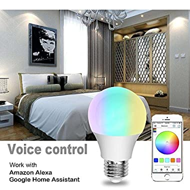 WiFi Smart LED Light Bulb, Compatible with Alexa & Google Home Assistant & IFTTT,Multicolored Dimmable Sunrise Wake Up WiFi Smart Light, No Hub Required(40 Watt Equivalent)
