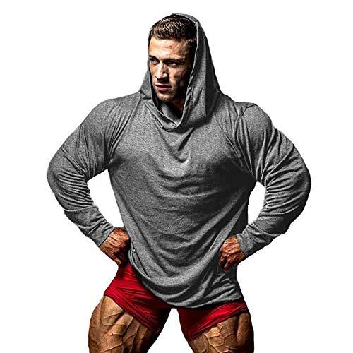 Cocila Herren Herbstmode Einfarbig Fitness Langarm Kapuzenpullover Freizeitsport Top Trainingsanzug