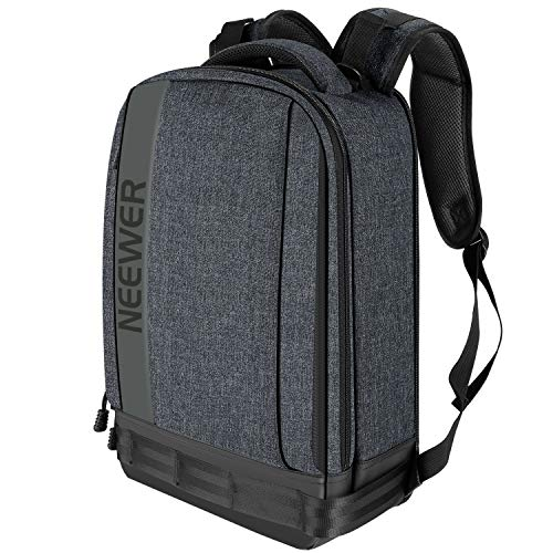 Neewer Camera Backpack Bag Detachable Padded Camera Case for DSLRs, Mirrorless Cameras, Lenses, Tripods, 13 inches Laptop and Other Accessories for Travel, Outdoor Photography with Rain Cover (Grey)
