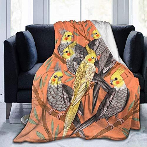 Cockatiel Birds Soft Throw Blanket All Season Microplush Warm Blankets Lightweight Tufted Fuzzy Flannel Fleece Throws Blanket for Bed Sofa Couch