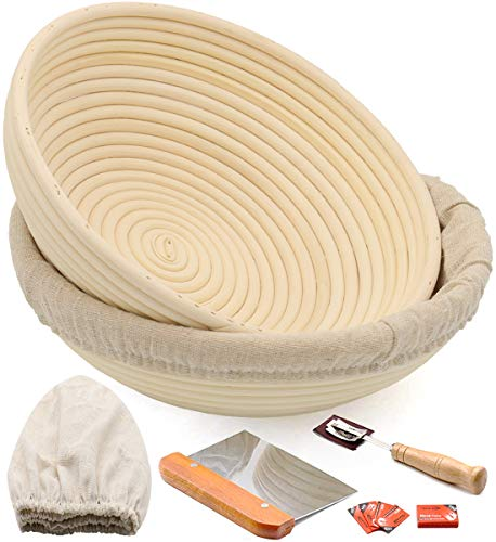 "10"" Round Banneton Bread Proofing Basket 2 Set, Sourdough Rising Baking Bowl Kit, Gifts for Artisan Bread Making Starter, Includes Linen Liner, Metal Dough Scraper, Bread Lame & Case, Extra Blades"