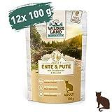 Wildes Land | Nassfutter für Katzen | Nr. 5 Ente & Pute | 12 x 100 g | Getreidefrei | Extra viel Fleisch | Beste Akzeptanz und Verträglichkeit