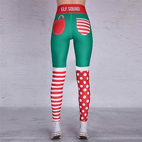 WWLIN Pantalones de Yoga para Mujer, Leggings Deportivos con Estampado navideño único para Entrenamiento, Mallas Deportivas para Correr, Mallas Sexis Push Up para Gimnasio, pantalón elástico Delgado