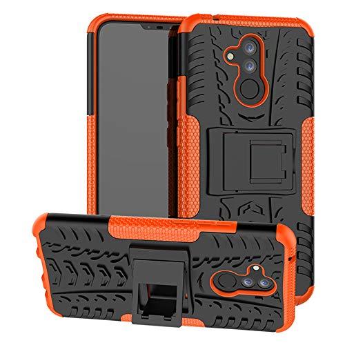 LiuShan Mate 20 Lite Funda, Heavy Duty Silicona Híbrida Rugged Armor Soporte Cáscara de Cubierta Protectora de Doble Capa Caso para Huawei Mate 20 Lite Smartphone,Naranja