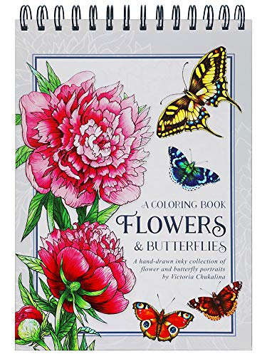 Flowers and butterflies Coloring Book for Adults: 25 beautiful hand-drawn inky flower and butterfly portraits on thick artist paper with a spiral binding in hardback - Travel size coloring book