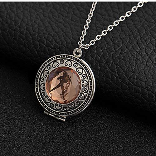 DDDDMMMY Collar De Constelaciones,12 Constelaciones Zodiacales Acuario con Bronce Plata Joyas Fashion Signo Zodiaco Medallón Corazón Collar De Cadena Larga para Mujeres Hombres